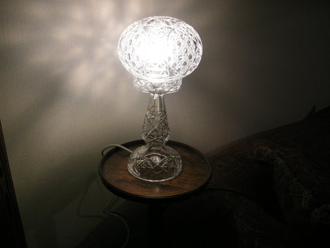 Large mid 20th century cut glass mushroom table lamp