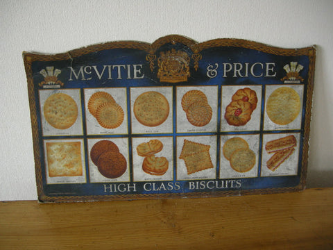 McVitie and Price vintage cardboard biscuit advertising sign