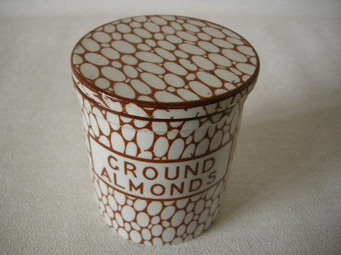 Rare 1930s Maling cobble stone pattern GROUND ALMONDS lidded ceramic jar