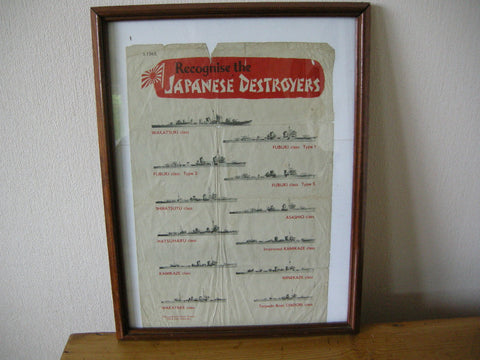 Framed World War II Admiralty leaflet used to RECOGNISE THE JAPANESE DESTROYERS