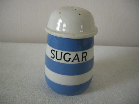 Original 1930s T G Green blue and white Cornish Ware sugar dispenser with green backstamp