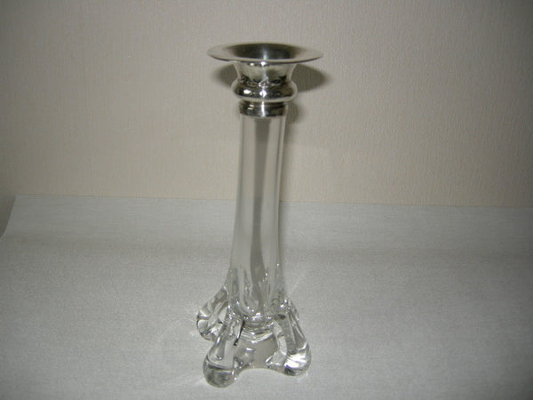 Art Nouveau glass single rose vase with silver top and organic base