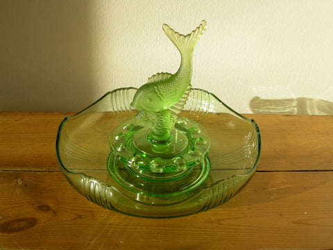 Art Deco green glass bowl with leaping fish centrepiece