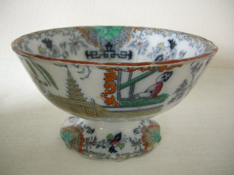 Antique Victorian Scottish Pottery Tamerlane pattern Punch Bowl by J & MP Bell Pottery Glasgow
