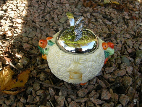 Clarice Cliff Celtic Harvest preserve pot with chrome lid and spoon