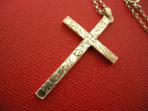 Large London hallmarked silver cross on silver chain