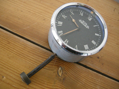 1930s black faced JAEGER dashboard clock