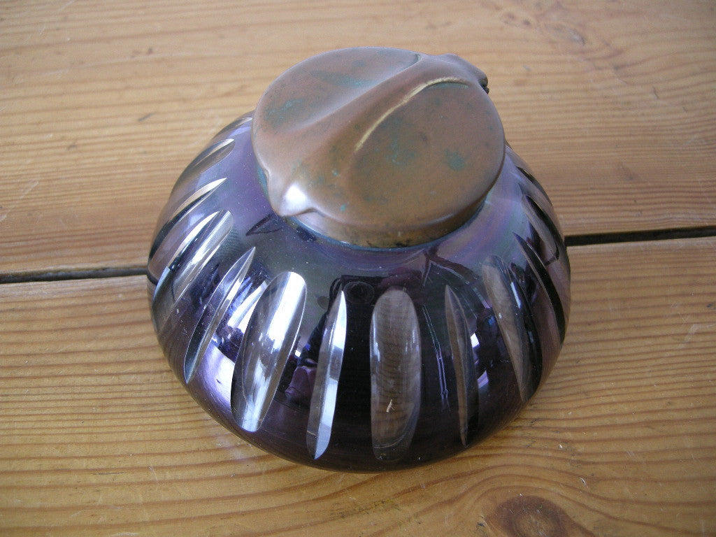 Stylish Art Nouveau cut glass and copper inkwell