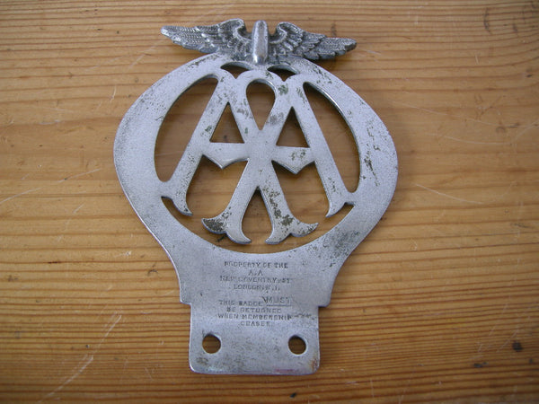 LARGE VINTAGE AA CAR BADGE