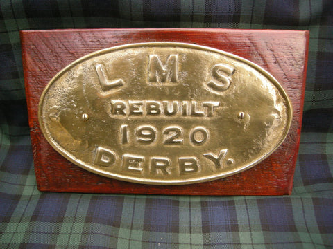EXCELLENT LMS DERBY RAILWAY PLATE DATED 1920