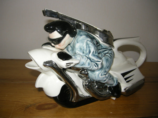 NOVELTY 1980S SILVER CRANE ELVIS ON A MOTORBIKE TEAPOT