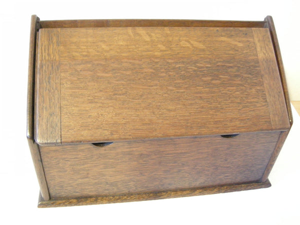 Early 20th Century oak stationery box with fitted interior