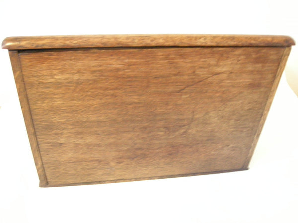Early 20th century fitted oak stationery box/writing slope
