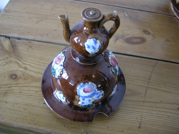 Very large Measham Pottery barge ware teapot inscribed Borough of Grampound 1797