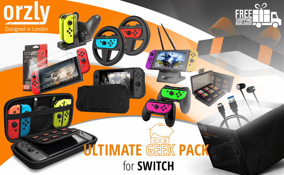 Nintendo Switch Accessories Orzly Geek Pack