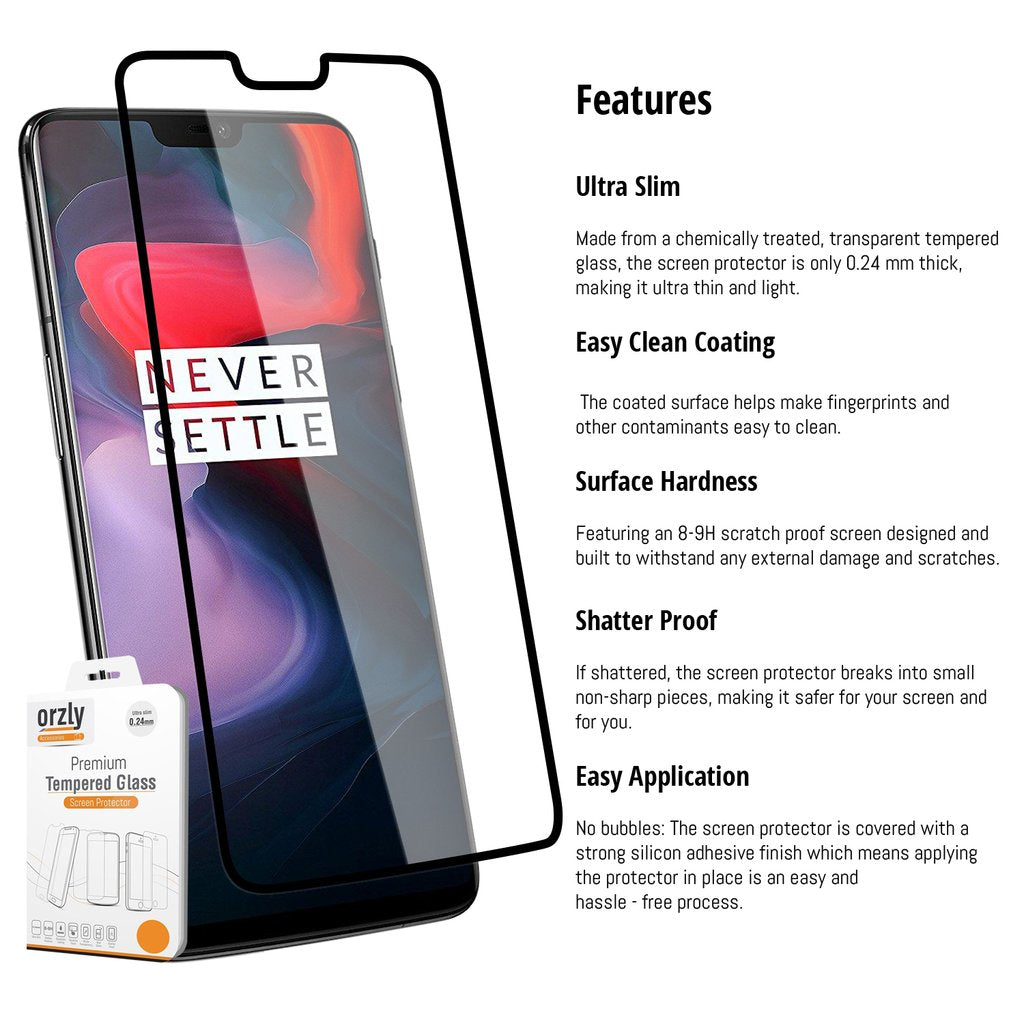 Pro-Fit Tempered Glass Screen Protector For OnePlus 6 - TWIN PACK - Orzly
