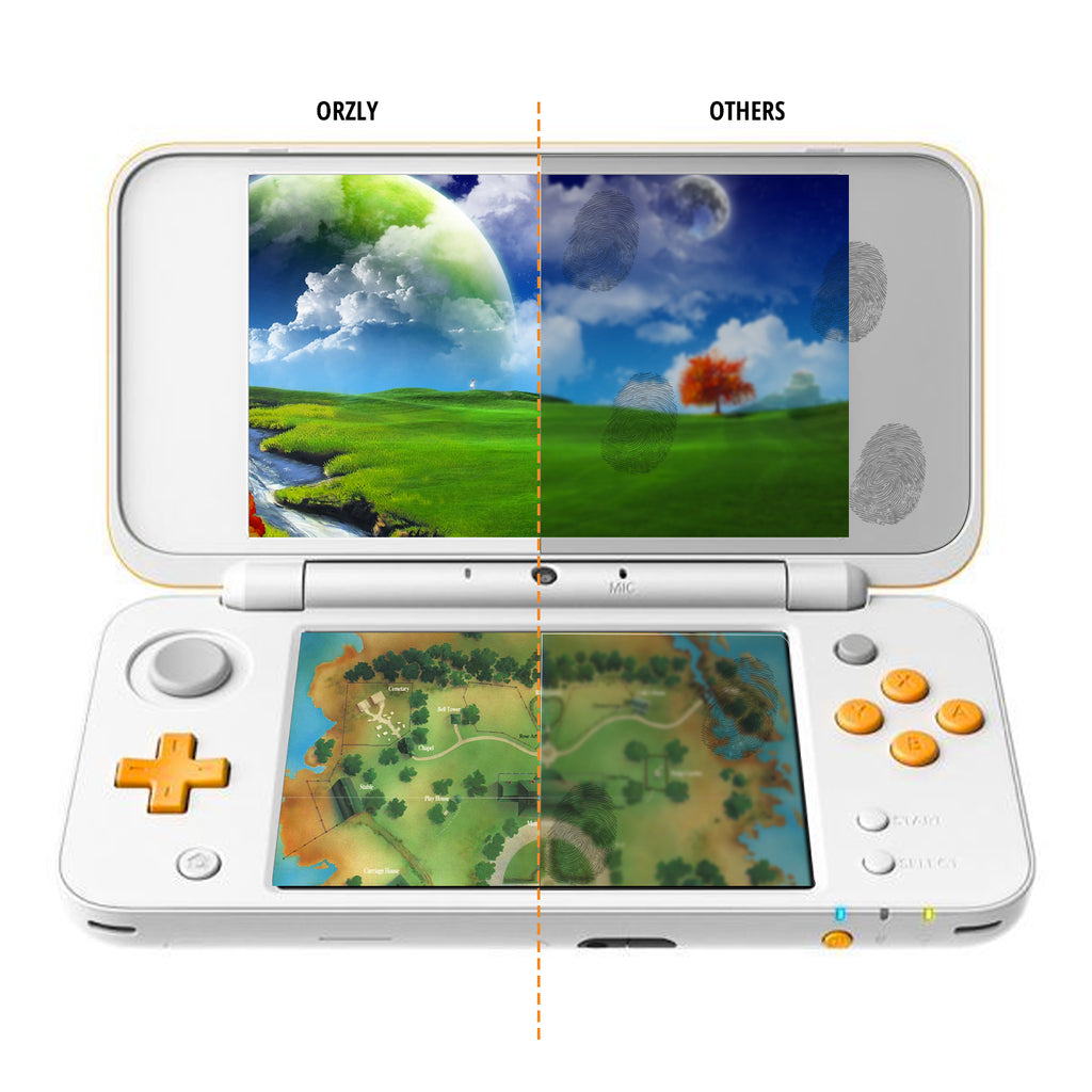 Dual Screen Protector for New 2DS XL - 3 in 1 Pack - Orzly