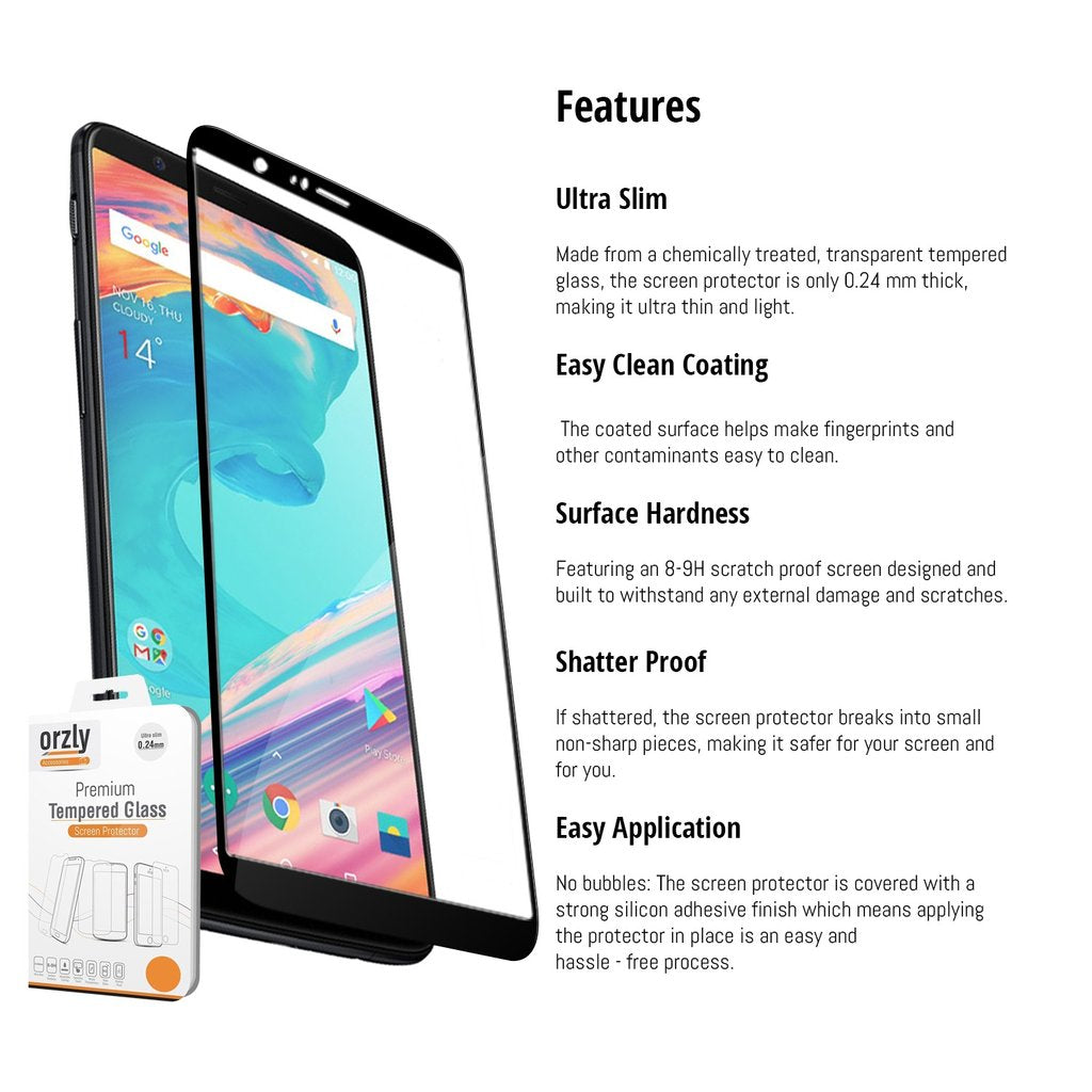 OnePlus 5T Pro-Fit Tempered Glass Screen Protector - QUAD PACK - Orzly