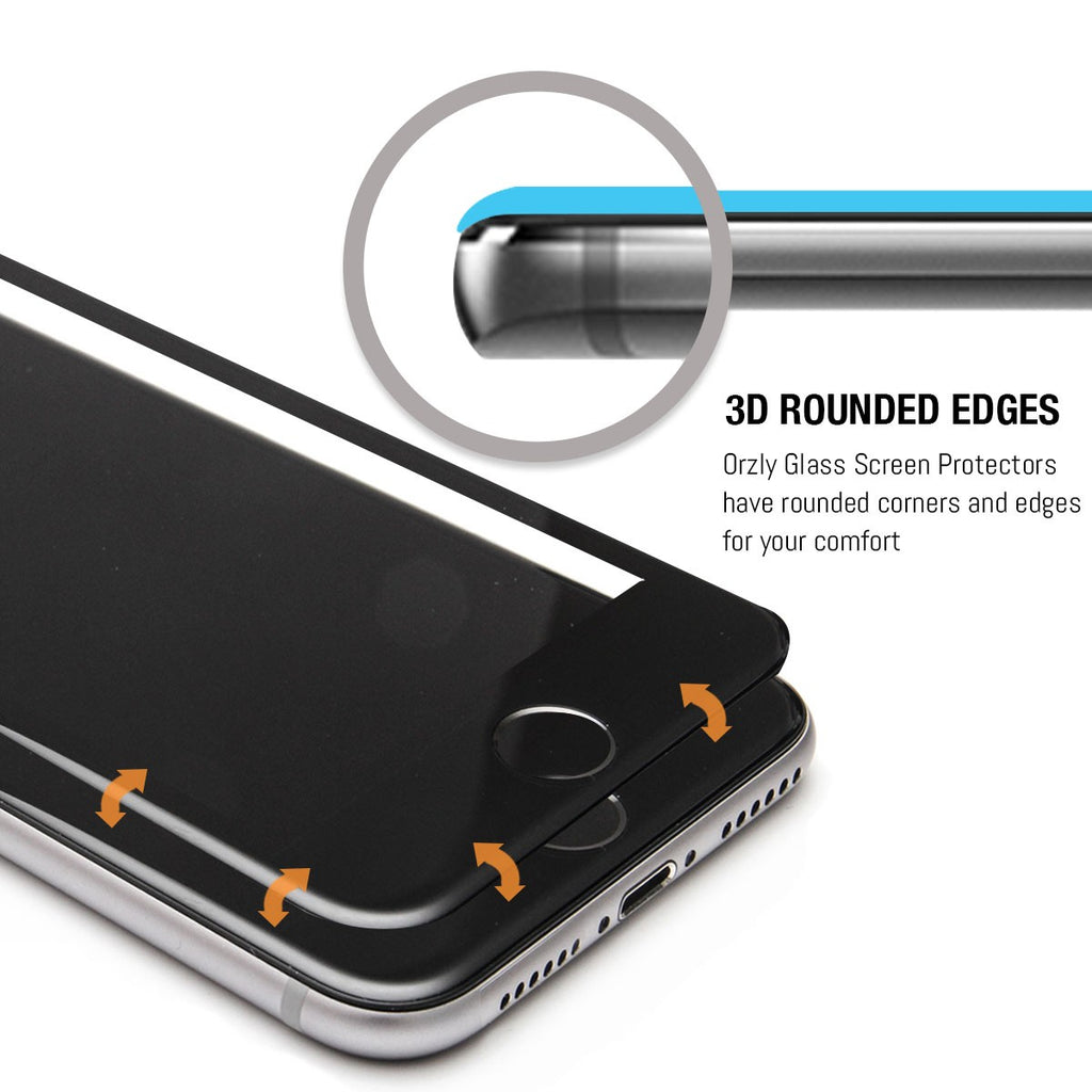 Orzly Pro-Fit 3D Glass Screen Protector for iPhone 7 (ONLY) - Orzly