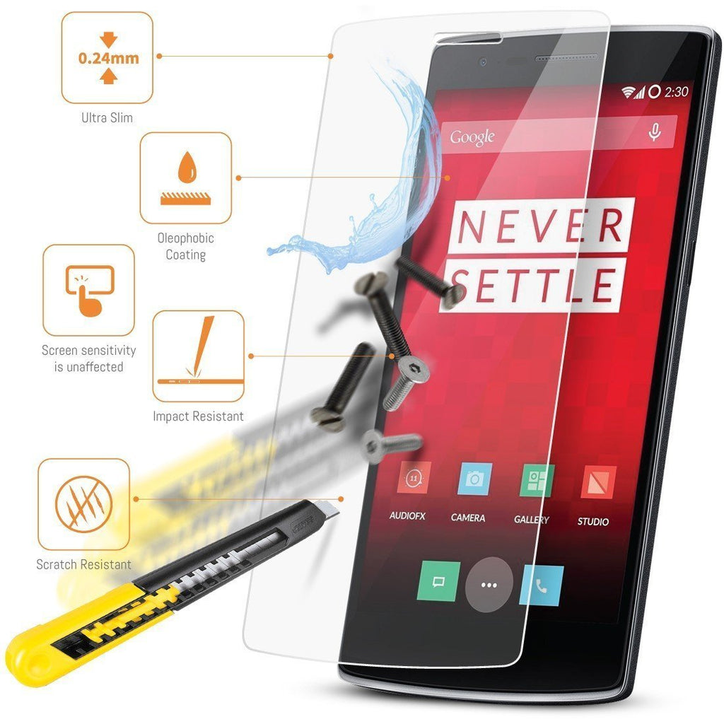 Tempered Glass Screen Protector for One Plus One - Orzly