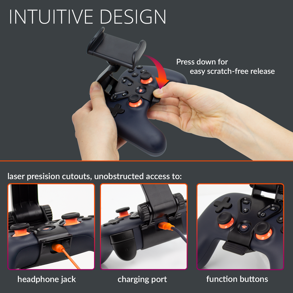 Orzly Clip on Phone Mount Claw Grip for Portable Google Stadia Controller Gaming - Orzly