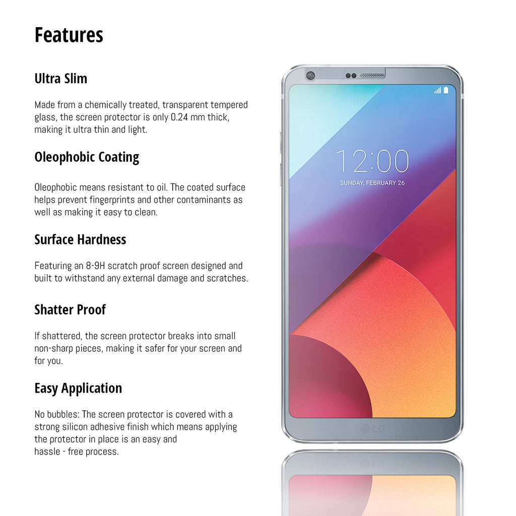 Orzly Tempered Glass Screen Protector for LG G6 - Orzly