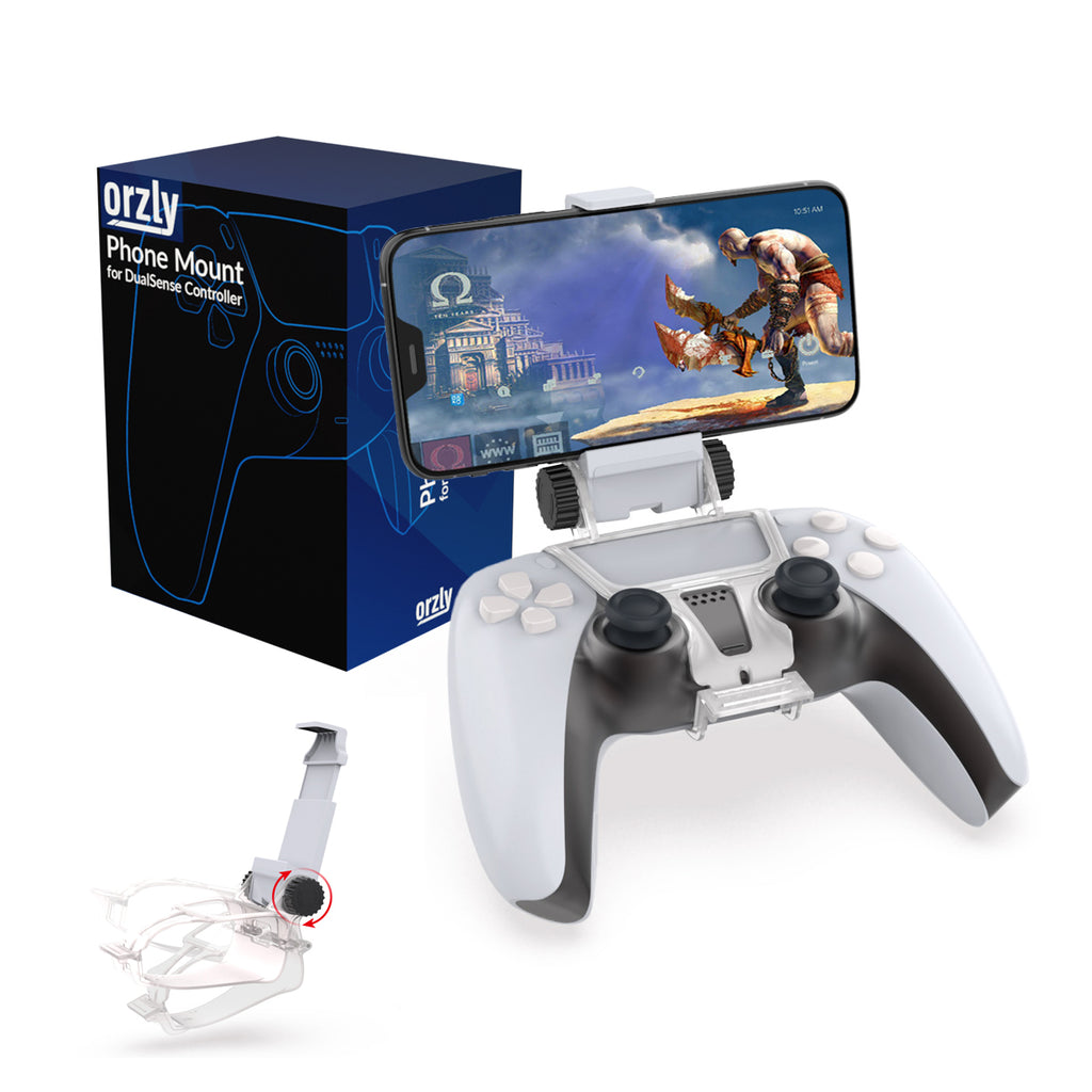 PS5 Controller Mobile Gaming Clip, DualSense Controller Phone Mount Adjustable Phone Holder Clamp Compatible with PlayStation 5 DualSense Controller - Orzly