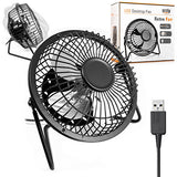 Orzly Usb Fan Portable Mini Table Silent Desk Fan - Black Retro Look