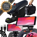 Stadia Geek Pack, includes two Phone Mount Clips, Controller Duo-Charge Station, 3m USB-C Charging Cable, and Protective Travel Bag