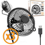 Orzly Usb Fan Portable Mini Table Silent Desk Fan - Black Retro Look - Orzly