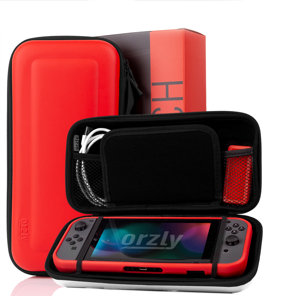 Switch Accessories Bundle - Orzly Essentials Pack for Nintendo switch Case & Screen Protector, Grip Case, Games Holder, Headphones - Orzly