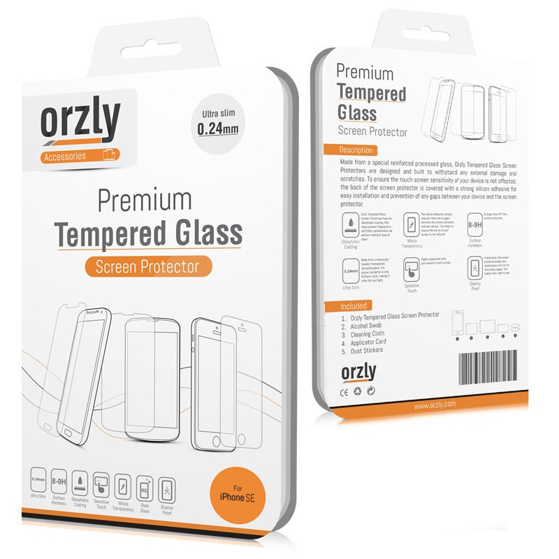 Tempered Glass Screen Protector for iPhone SE - Orzly