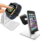 Orzly Duo-Stand Compatible with Apple Watch All Series: (SE, 6,5,4,3,2,1) & All Sizes: (38mm & 42mm & 40mm & 44mm) – Aluminium Desk Stand for iPhone & Apple Watch
