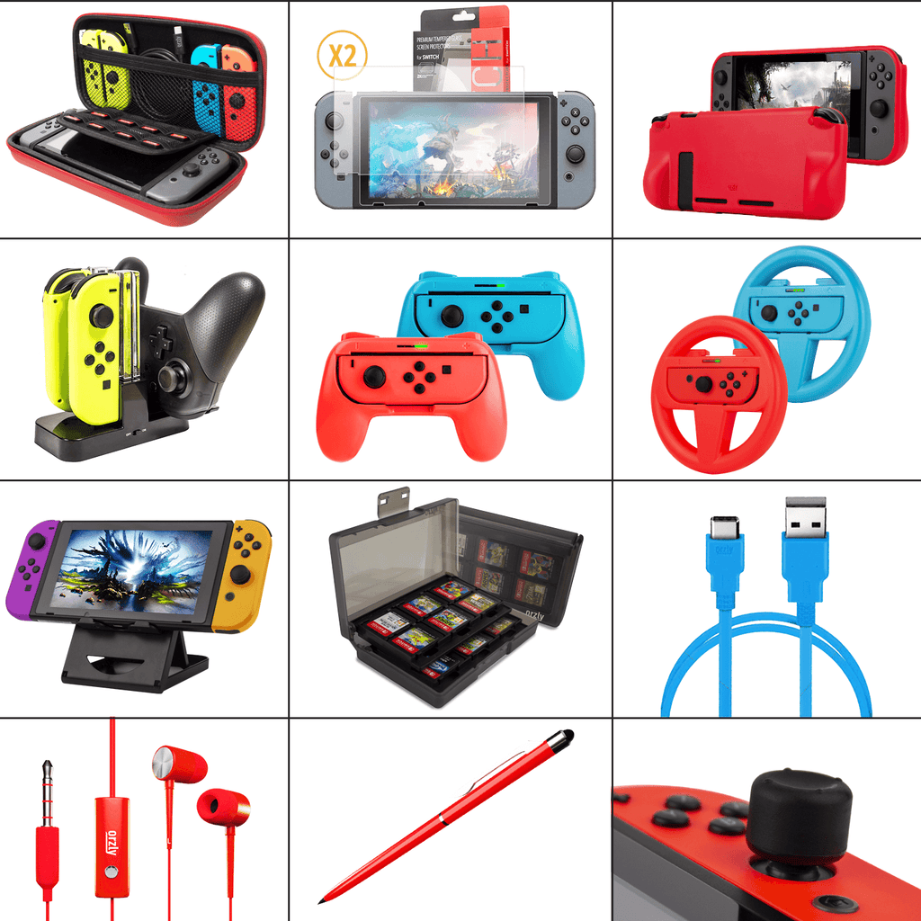 Orzly Accessories Bundle for Switch Geek Pack: Case & Screen Protector, Joycon Grips & Racing Wheels, Controller Charge Dock, Comfort Grip Case & More - Orzly