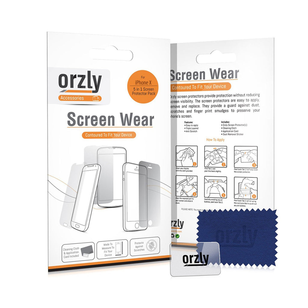 Screen Protector for iPhone Xs and iPhone X - 5 in 1 Pack - Orzly