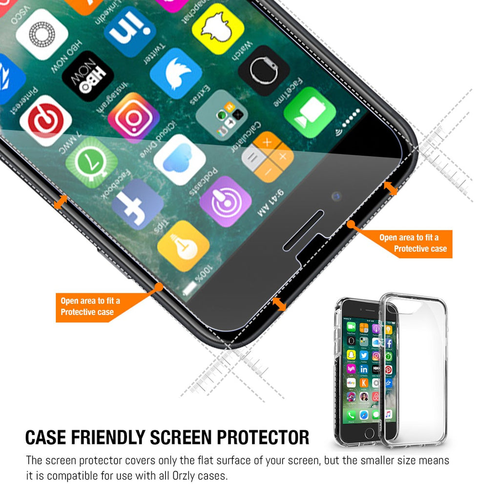 Orzly Tempered Glass Screen Protector  - TWIN PACK - for iPhone 8/ 7 - Orzly