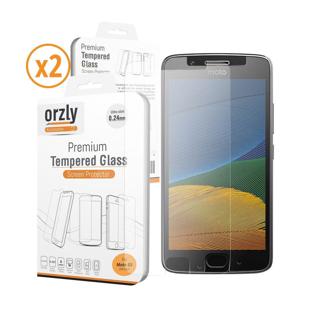 Tempered Glass Screen Protector for Moto G5 - Twin Pack - Orzly