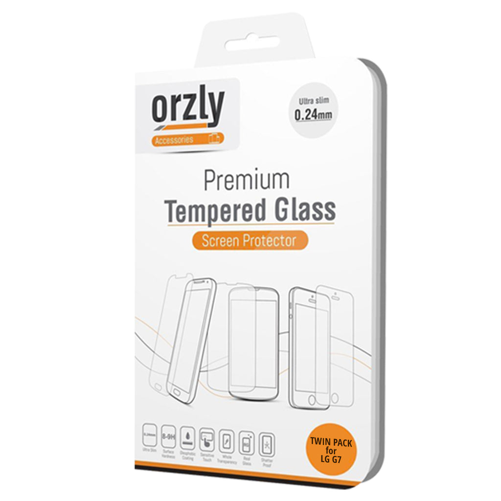 Tempered Glass Screen Protector for LG G7 - TWIN PACK - Orzly