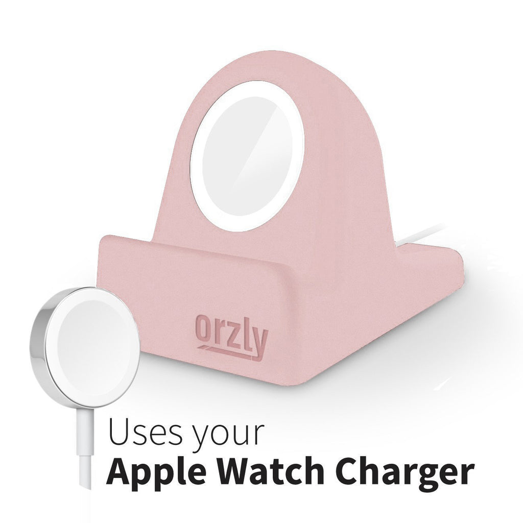 Orzly Compact Stand for Apple Watch - Nightstand Mode Compatible - Black Support Stand with integrated Cable Management Slot (38mm & 42mm & 40mm & 44mm compatible)