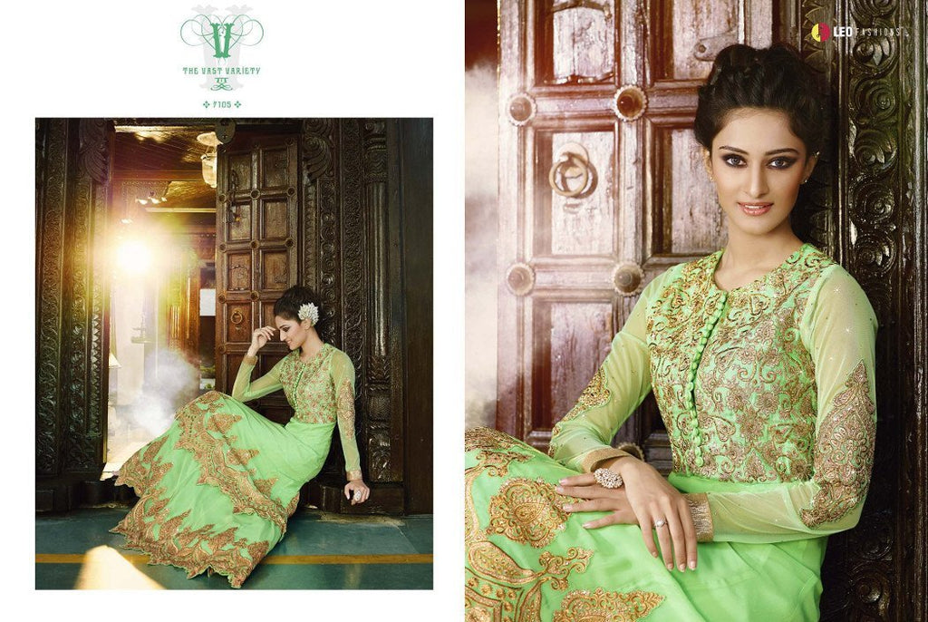 Afreen lime colour georgette anarkali dress by miilady
