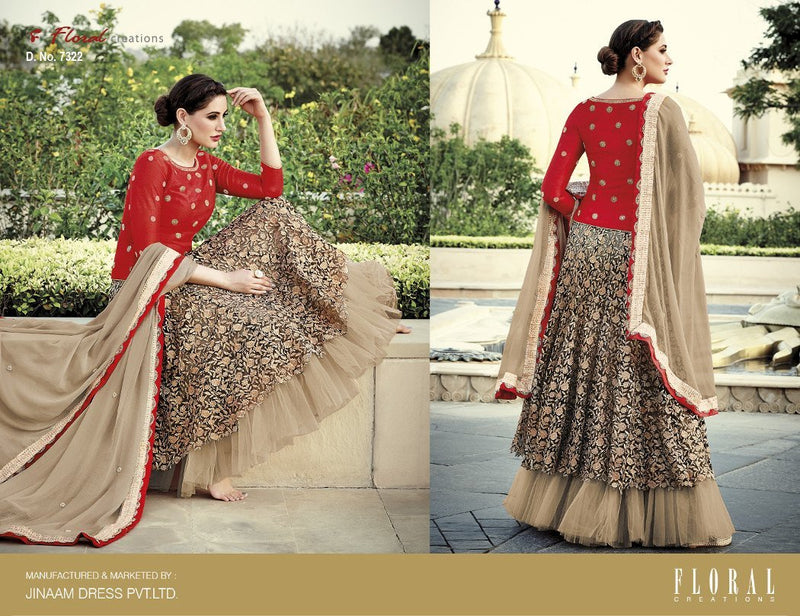 Floral Nargis Fakhri Anarkali Wedding suit 7322