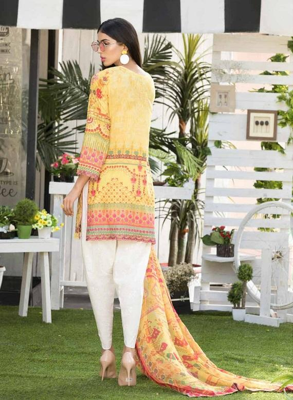 Abiha by Eshaisha Preimum Lawn 2019 suit D-06 - Embroidered yellow lawn shirt with printed chiffon dupatta