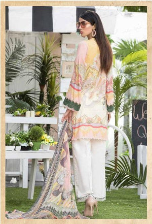 Abiha by Eshaisha Lawn 2019 suit D-09 - Embroidered pink lawn kameez with printed chiffon dupatta
