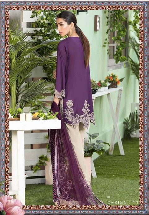 Abiha by Eshaisha Lawn 2019 suit D-11 - Embroidered Purple Lawn Shirt with Printed Net Dupatta