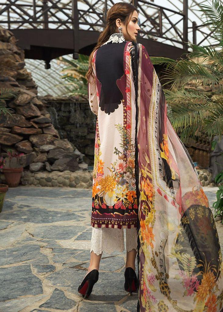 Afrozeh Sienna suit 2020 Aster - Embroidered, printed lawn shirt with digital chiffon dupatta