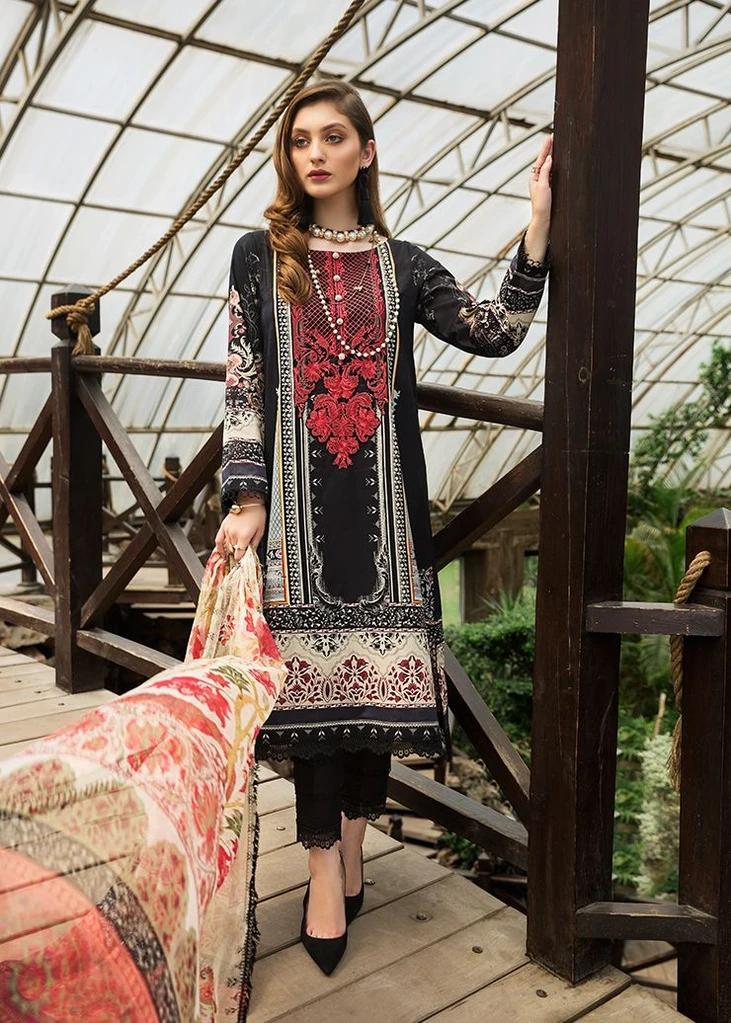 Afrozeh Sienna Lawn suit 2020 Black Rose (D-01)