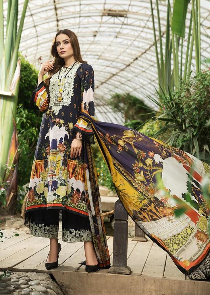 Afrozeh Sienna Lawn suit 2020 Night Glory (D-09)