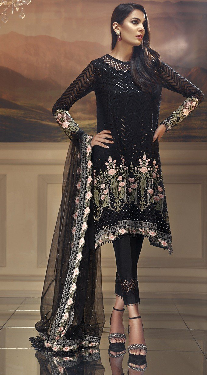 Anaya Wedding Edition 2018 suit Ebony Garden - Black Colour Chiffon kameez with embroidered Net dupatta and silk bottom