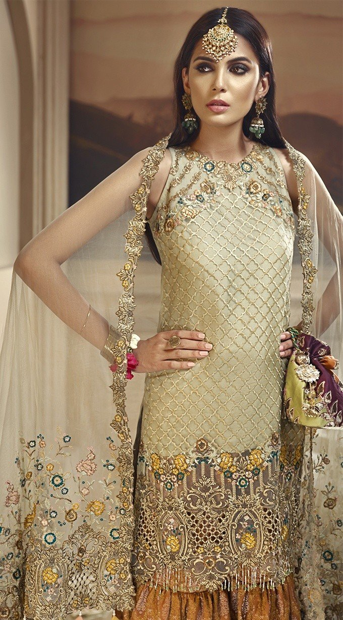 Anaya Wedding Edition 2018 Henna Garden - Embroidered Gold Organza Kameez, Net Dupatta and Jacquard Gharara