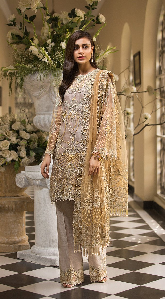 Anaya La Belle Soiree 2019 suit CARLA - Embroidered Grey Organza Shirt with Net Dupatta